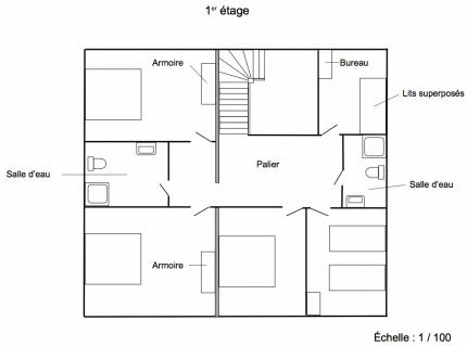 Plan 1er étage du Grand Gîte