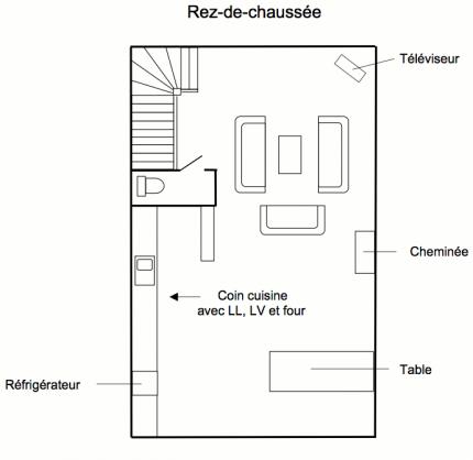 Plan du rez de chaussée du grand gîte